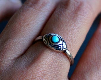 Ahanu Sterling Silver Ring Turquoise Ring Boho Ring Bohemian Jewelry