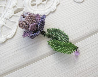 Ethnic violet flower brooch, folk beaded jewelry, fashion 2017, exclusive handmade accessories, OOAK, green, gift for her, unique chic style