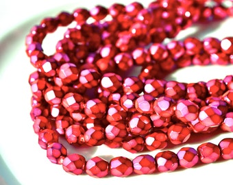 Super HOt PInk Magenta Pearl Coat 6mm Faceted Fire Polish Round Beads   25