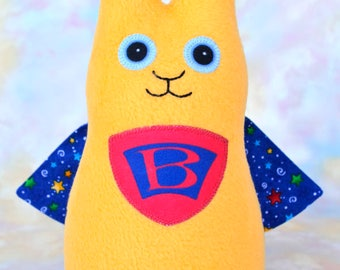 Handmade Wonder Bunny Rabbit Stuffed Animal, Yellow, Red, Blue Fleece, Plush Kids Baby Toddler Toy, Personalized Tag, 9 inch