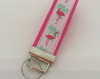 wristlet key fob/ flamingos/ pink and white/ key chain