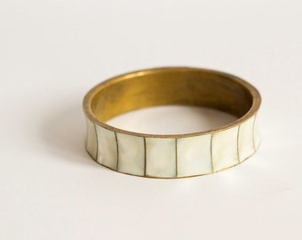 Vintage Mother of Pearl and Brass Bracelet Old Bangle, Jewelry