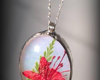 Dried flower & fern necklace