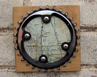 "5""x5"" Recycled Bicycle Chainring Ft Collins Map Plaque"