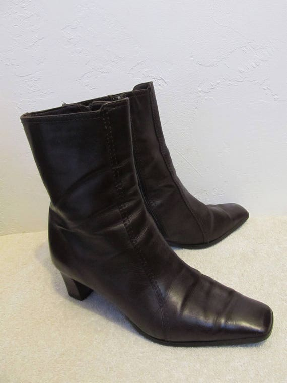 Brown Zip Vintage ITALIAN Amalfi 5B Boots MOD Women's by Ankle 7 Dark Leather 90's 6wIxBfnfq0