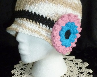 Crochet Bucket Hat with Flower Accent - Ecru and White Bucket Hat Beanie for Women Teen Girls - Ready to Ship