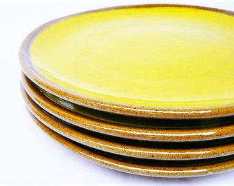 Four Vintage Italian Ceramic Plates - Yellow Brown Baldelli Italy Stoneware Plate, Set of 4 - Lemon Yellow and Clay Color Rim/Bottom 10 1/2""