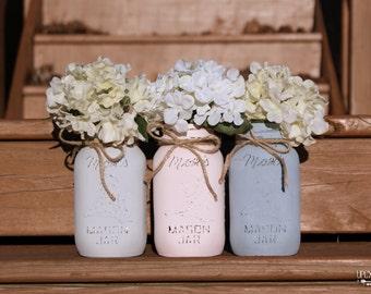 Painted Mason Jars,Pastel mason Jars,Vintage,Wedding Centerpieces,Shabby Chic Mason Jars,Rustic Home Decor,French Country,Baby Bridal Shower