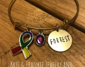 Autism Awareness Expandable Bracelet, Autism Awareness Ribbon or Autism Awareness Puzzle Piece. Handmade.