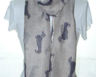 Dark Beige Dog print scarf, Beach Wrap, Cowl Scarf, dog print scarf, cotton scarf, gifts for her
