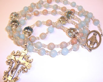 Catholic  rosary,Miraculous,terracotta jasper,rosary beads,Abundant Grace Rosaries,Indylin,Rosary of Our Mother Mary