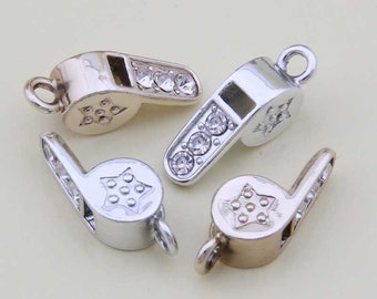 10PCS 8*20MM, Whistle Charms, Crystal Charm, Gold Plated Charm, Diy Charm, Jewelry Accessories