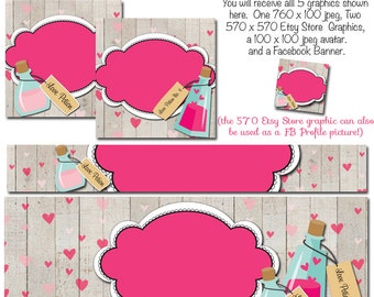 Valentines Facebook Timeline Set - Love Potion Valentine's Day , Valentines Etsy Cover Photo, Holiday Templates