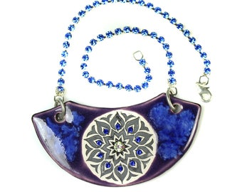Purple  Mandala Sparkle Surly Ceramic Necklace With Rhinestone Chain