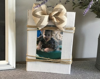 Distressed white wooden block picture holder frame