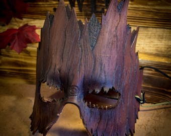 Molded Leather Tree Trunk Mask