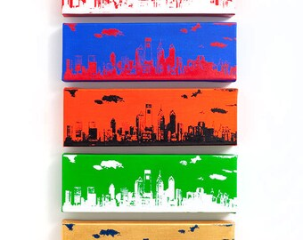 Philadelphia Skyline Ultimate Sports Edition (5 Canvas: 12 x 4 inches each) Philly Sports Cityscape Wall Art