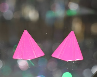 80's Purple Triangle Earrings