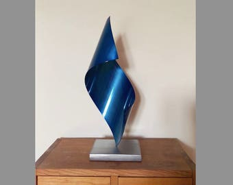 Metal art sculpture - Blue abstract home decor handmade from steel