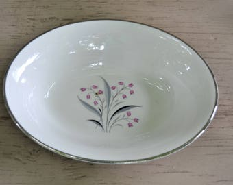 PRINCESS CHINA Tru Tone Flair Pink Flowers Grey Leaves Gilded Silver Edges 1950s Oval Serving Bowl