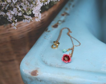 Poppy Short Necklace , Flower Rose Necklace , Flower Necklace - High quality enamel by GOODAFTERNINE