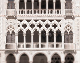 Venice Photography - White Gothic Palace on the Grand Canal, Italy Travel Photograph, Architecture Wall Decor