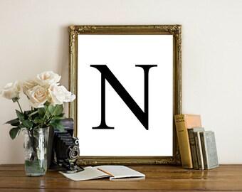 Printable letter art, letter N wall art, Black letter, simplistic, monogram, initial art print