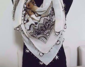 Cotton Turkish Scarf with Needle Lace Handmade/ oya / yazma 4
