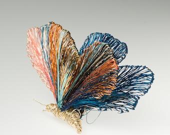 Wire sculpture, wearable art, butterfly brooch, blue orange, statement jewelry, modern hippie, large brooch, Winter wedding, bridesmaid gift