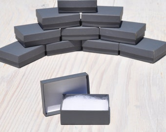 100 Charcoal Gray 3.25x 2.25x1 Gift Jewelry Boxes Retail Presentation with Cotton Fill