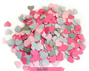 200 Mixed Pink & Grey mini Heart Cut-outs, Confetti - Set of 200 pcs