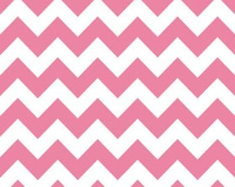 SALE Riley Blake Fabric by the yard - Medium Chevron - Hot Pink