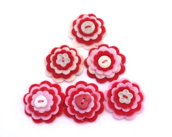 Scrapbooking Flowers, Felt Flower Embellishments, Card Making Supply, Red, Cream and Pink with Button Centers, Set of 6