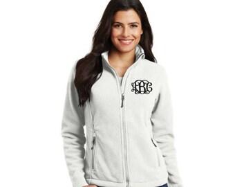 Monogram fleece jacket, Embroidered fleece jacket, full zip fleece jacket, ladies fleece jacket, Women's fleece, monogram full zip fleece