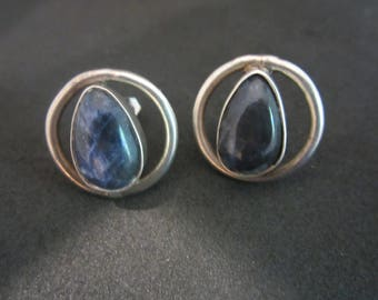 Heavy Sterling Silver and Deep Blue Lapis Earrings-FREE SHIPPING (US)