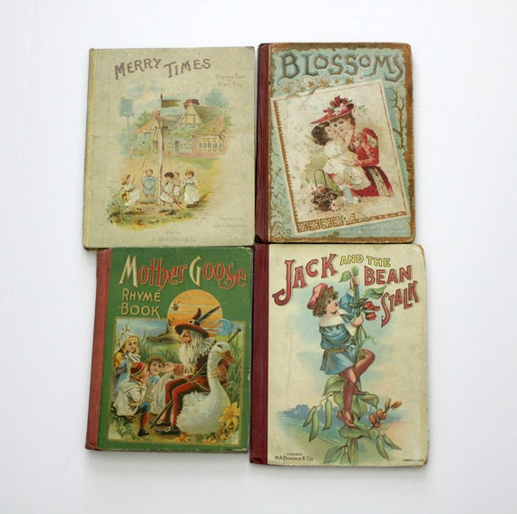 Lot 4 1890s Antique Childrens Books, Victorian Kids Stories, Mother Goose, Jack Bean Stalk, Blossoms, Merry Times