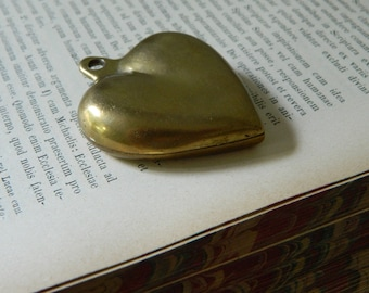 Vintage Solid Brass Puffy Heart. Pendant. Antique Brass.