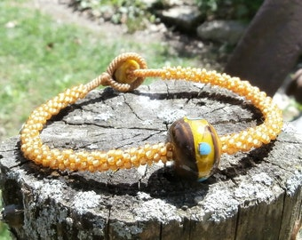 Golden Honey Seed Beaded Bracelet