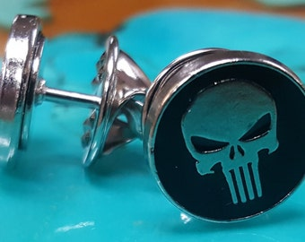 2 Military Skull Tie Tacks, Lapel Pins or Hat Pins