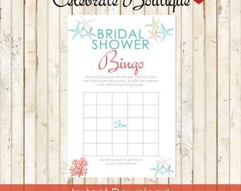 Beach bridal shower etsy beach bridal shower bingo game beach party instant download beach theme starfish coral bridal bingo game filmwisefo Choice Image