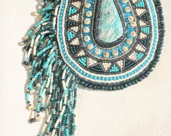 TURQUOISE TREASURE  -Hand made bead embroidered barrette with gemstone