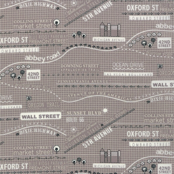 Light Silver Gray Boulevard Street Maps With Words and Destination Locations, Modern Design Road 15 by Sweetwater For Moda Fabrics 5521 16