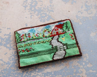 vintage 40s Needlepoint Clutch Pouch 1940s Folk Tapestry Cosmetic Bag Pouch