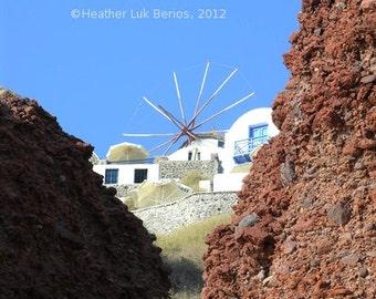 Greece Photography - Windmill - Santorini Greece - Wall Decor - Mediterranean Fine Art Print