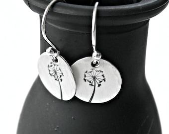 Hand Stamped Dandelion Earrings - Dandelion Earrings - Sterling Silver Dandelion Earrings - Dandelion Drop Earrings