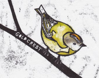 Goldcrest Card   Greetings Card   British Birds   Printed in the UK on Recycled Card