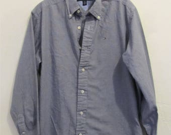 A Men's Vintage 90's,Long Sleeve,Blue & White Checkered FLANNEL Urban era Shirt By TOMMY HILFIGER.S/P