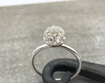Quartz Crystal Ring - Sterling Silver Ring - Gift for her - Solitaire Ring - Crystal