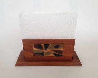 Vintage Mid Century Teak Wood and Copper Enamel Napkin or Letter Holder