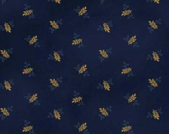 Beautiful dark blue background with small wheat colored design.  Part of the St Louis reproduction collection.